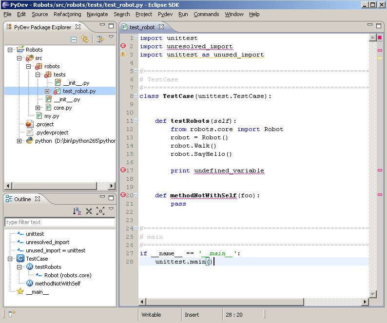 Eclipse with PyDev Screenshot